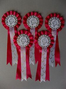 Personalised Horse Rosettes 1-Tier Pony Party Rosettes x 5 Choose Colour