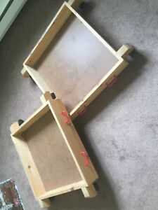 Under bed storage roller trays, handmade wood