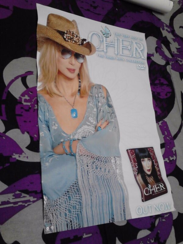 "CHER ""VIDEO HITS COLLECTION"" U.S. PROMO POSTER - Blue Cowboy Hat & Rhinestones"