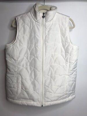 Laura Scott Size M Ivory Quited Zip Front Vest Pockets Heart Zipper Pull EUC