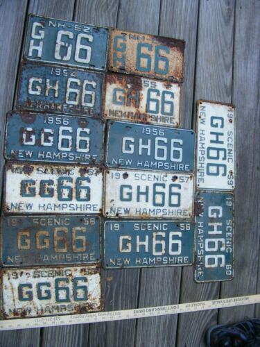 Vintage 13 NH New Hampshire License Plate Lot,1952-1960