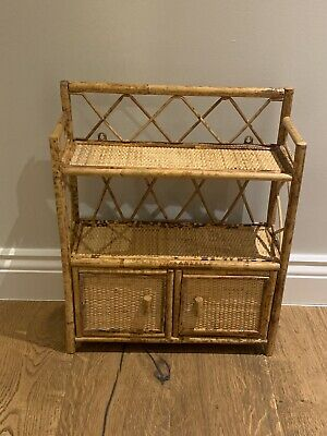 Vintage Tiki Wicker Bamboo Shelves Bathroom Cupboard Cabinet