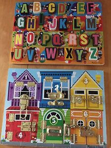 Melissa & Doug puzzle and latchboard