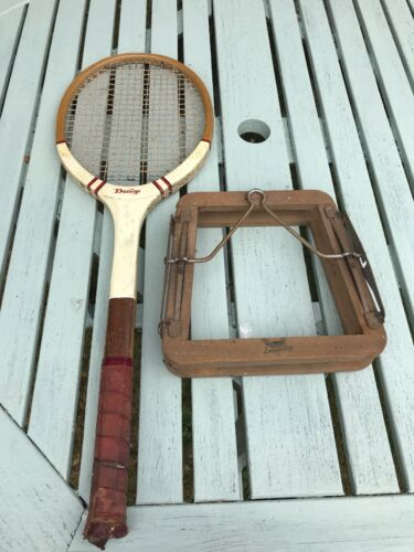 tennis raquet vintage antique display dunlop wooden press wimbledon