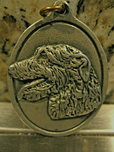 Vtg. Irish Wolfhound Pewter Key Fob Keychain Realistic and Finely Detailed!