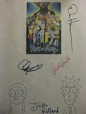 Rick and Morty Signed TV Script Justin Roiland Dan Harmon Chris Parnell reprint