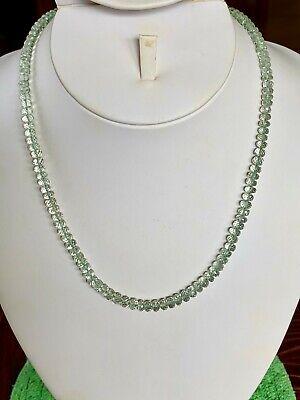 """Prasiolite Green Amethyst Silver Necklace 18"""" Quartz 4-5.5mm beads rondelle"""