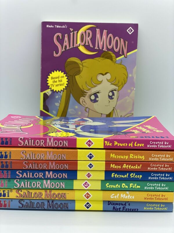 Sailor Moon VINTAGE Anime Novel Takeuchi COMPLETE SET Volume 1-8 Best Price!