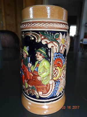 GERZIT Keramik Humpen  Relief Bierkrug Kühler Trunk + heiße Jagd