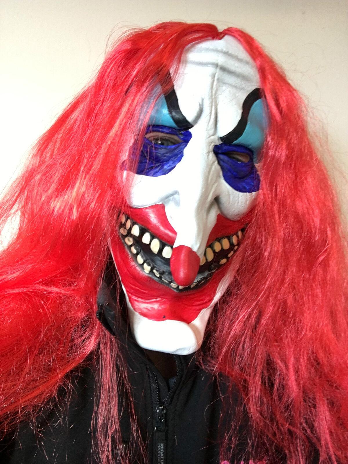 Sinister Scary Clown Latex Mask Adult Evil Halloween Fancy Dress ...