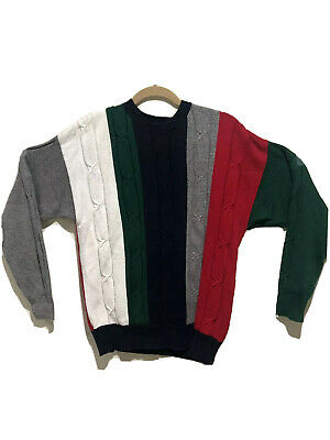 Vintage Nautica Colorblock Knitted Cotton Sweater Crewneck Pullover Mens Sz. L