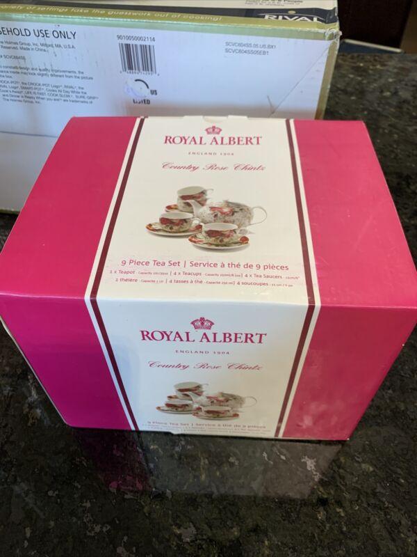 NEW Royal Albert COUNTRY ROSE CHINTZ TEA SET 9 Piece Teapot, 4 Cups & 4 Saucers
