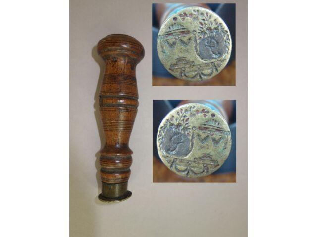 Antike Petschaft Siegelstock Wax Seal Holz Wood Girlanden Garlands ☃