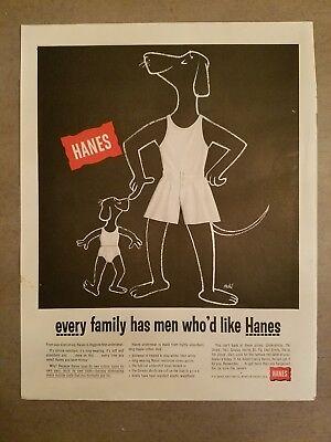 1950s Hanes men's underwear briefs dogs art fashion ad