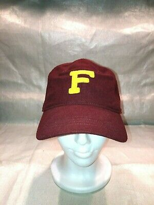 Abercrombie and Fitch Fitted Wool Hat - Size L / XL - Maroon with Yellow F - New