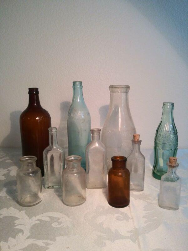 Vintage glass bottles lot