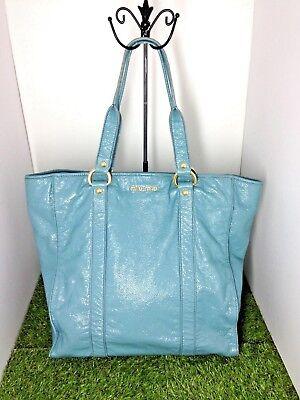 (SALE MIU MIU Light Blue Patent Crinkle Leather Large Shoulder Tote Hobo Bag)
