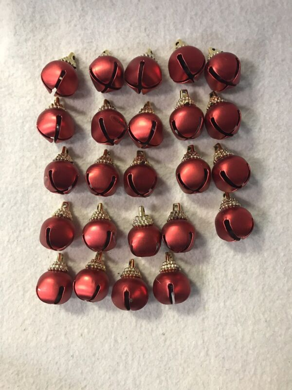 Lot of 24 Red Metal Jingle Bells Ornaments Christmas Craft