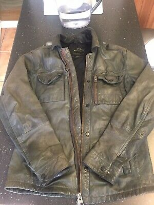 all saints mens leather jacket small