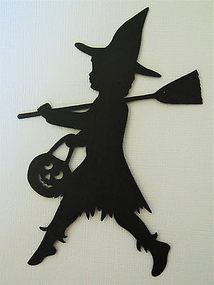Cricut Witch Girl Costume Halloween Silhouette Die Cut Scrapbook - Halloween Witch Silhouette