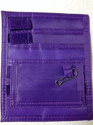 Us Seller Purple Nurse Small Nylon Scrub 5 Pocket Organizer Pal With Belt Loop