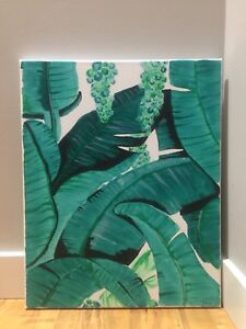 Acrylic painting tropical leaves