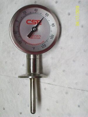 Cse Chicago Stainless Tri-clamp Temperature Gauge -50 To 120 F 3-14 Dial