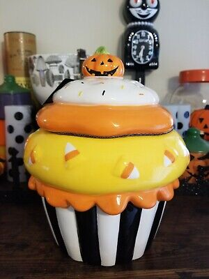Halloween Cupcake Cookie Jar HTF Rare Kohl's Ceramic Pumpkin Holiday Decor