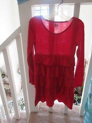 SO Girls Red Long Sleeve Dress w/Layered Skirt! Size 10 ](Girls Red Dress Size 10)