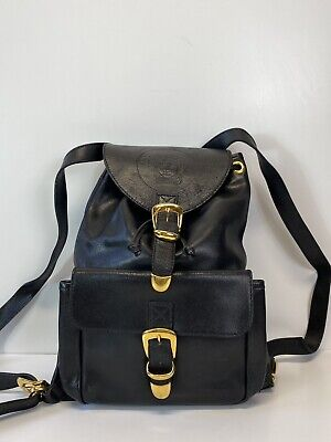 Rare Vtg Gianni Versace Black Leather Medusa Backpack