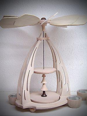 33 cm große Holz Teelicht Pyramide zum bestücken Leerpyramide unbestückt 15600