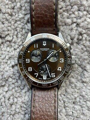 Victorinox Chrono Classic Quartz Brown Watch 241498 Used Good Condition