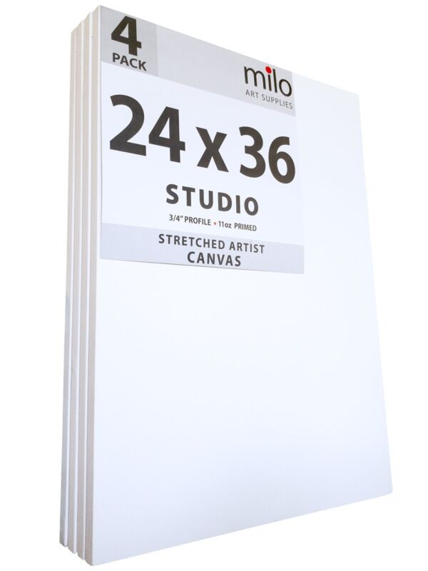 milo Pro Stretched Artist Canvas   24x36 inches   Pack of 4   3/4 inch Profile