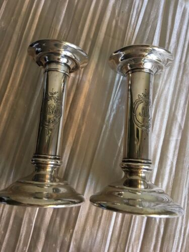 Tiffany sterling silver vintage pr. candlesticks mono 5 1/4 tall each over 152 g