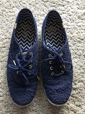 Keds X Oasis Size 7/40.5 Women's Navy Blue Eyelet Trainers/Canvas Shoes Flats