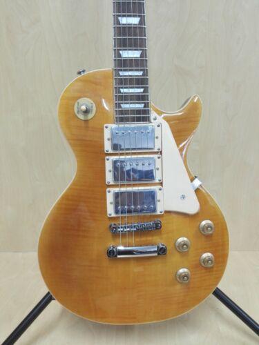 Haze 338ATGD All Mahogany LP Electric Guitar, Trans. Golden HHH Pickups+Gig Bag