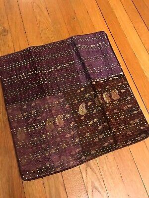 Upcycle Sari Maroon Silk Pillow Cover 16
