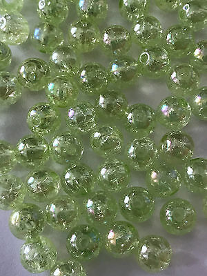 200 pcs Glass Spacer Green Beads Round 8mm Bead Jewelry Making 7c Craft Crackle