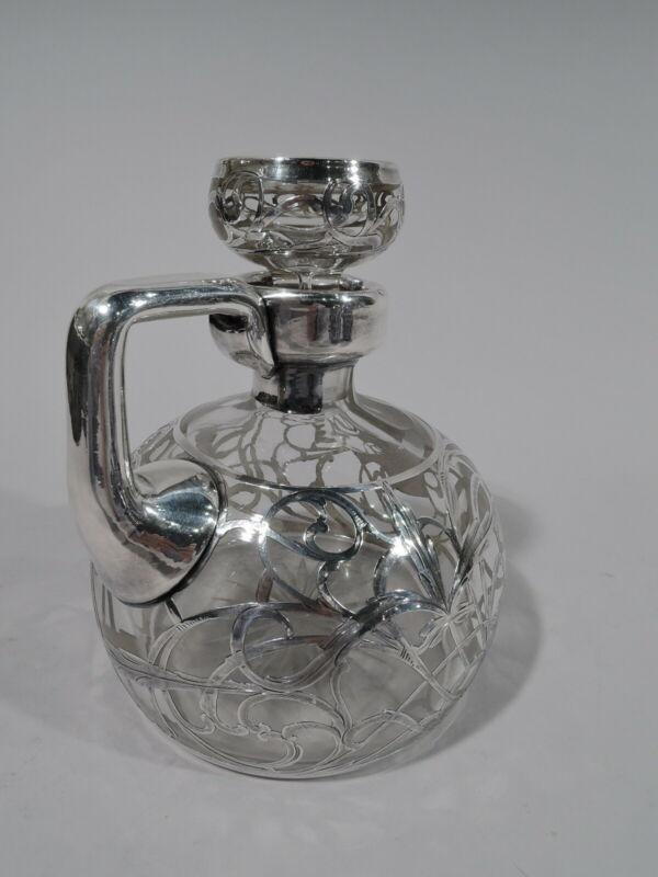 Antique Decanter - Art Nouveau Jug Barware - American Clear Glass Silver Overlay