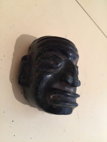 """PRE COLUMBIAN MASK BLACK JADE 3""""  AUTHENTIC MAYAN CEREMONIAL PIECE FROM ESTATE"""