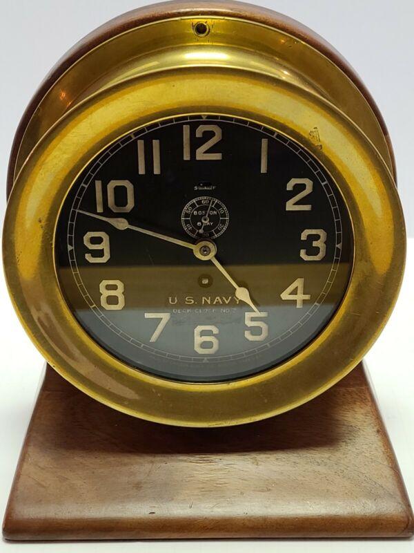 1906 U.S. NAVY Chelsea Clock Co Boston Brass Porthole No.3 Naval Ship Deck Clock
