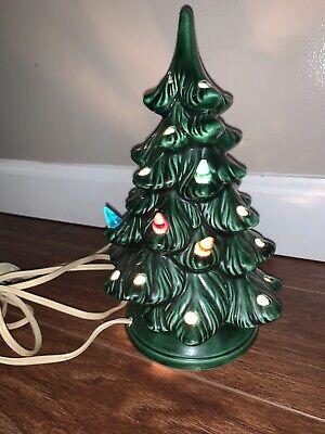 "Vintage 9"" Ceramic Light -Up Christmas Tree w /Base Holland Mold"