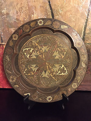 Antique South East Asian Bronze Frog Leaves Hand Carved Painted Tray Platter 13