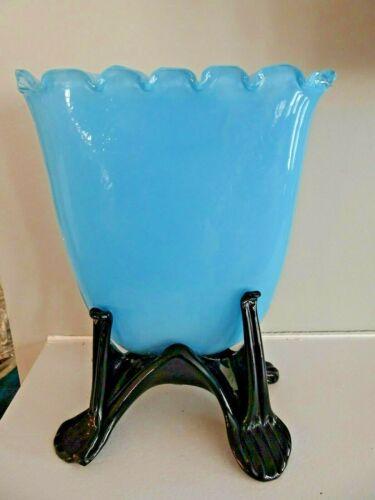 RARE BOHEMIAN 1930s KRALIK Glass BLUE TANGO Scalloped FAN VASE Black FOOTED