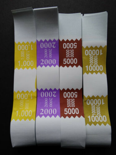 300 Mixed $1000 2000 5000 10,000 Money Self-Sealing Straps Saw Currency Bands