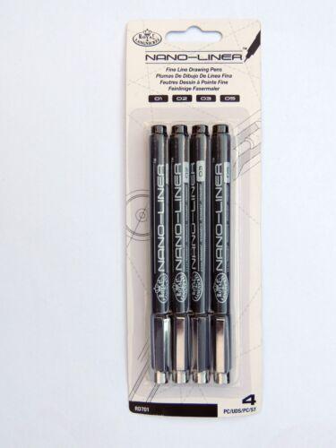 Royal Nana-Liner RD701 Black - 4 sizes Fine Line Drawing Pens Artist - Paint