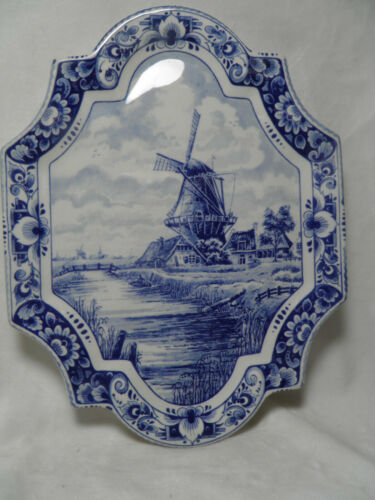 DELFTS WALL PLATE PLATTER BLUE & WHITE WINDMILL STREAM COTTAGES FLORAL TRIM