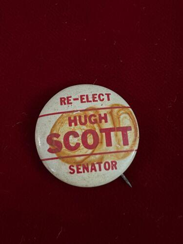 "Re-Elect Great Hugh Scott US Senator Republican Party Vtg Button Pin 1"""