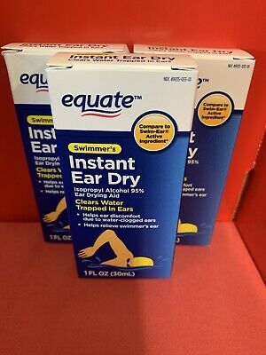 Equate Swimmer's Instant Ear Dry Ear Drying Aid - 2 Bottles Sealed 05/2021