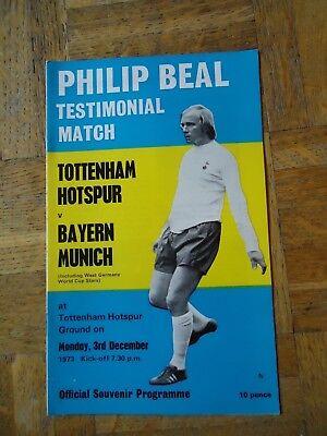 1973 Philip Beal Testimonial Tottenham Spurs v Bayern Munich Programme